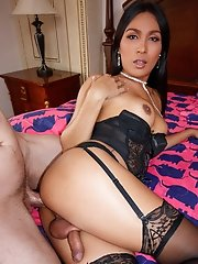 Ladyboy Emmy - Black Corset Raw Facial