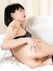 Japanese Ladyboy Yoko In Stockings Is Fingering And Toying Her Ass In This Intense Scene