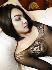 24 Year Old Sexy Thai Ladyboy Gets Out Of Her Lacey Lingerie And Sucks Tourist Cock