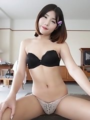 Petite shy Ladyboy with small tits shows not-so-innocent behavior