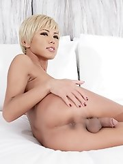 Japanese shemale Miran fingering her ass